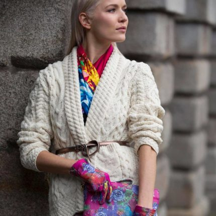 Susannagh Grogan Accessories, printed leather clutch, gloves and silk scarf