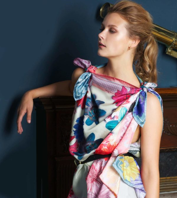 Susannagh Grogan Green Trellis Classic Square and Pink Trellis Classic Silk Scarf 2