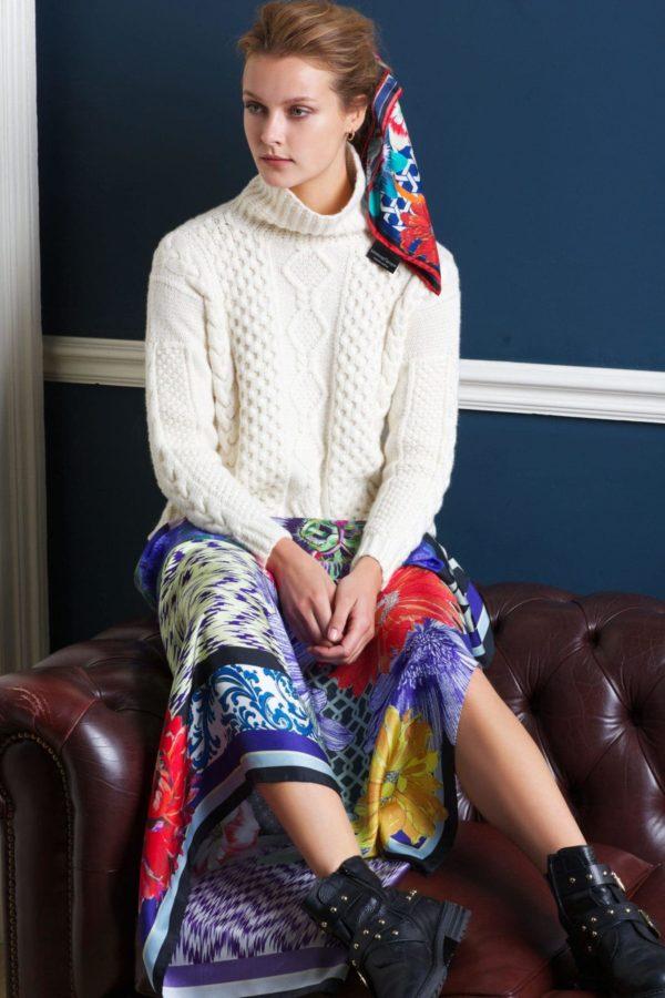 Ikat Floral XL Silk Scarf Irish fashion designer Susannagh Grogan with Madigan Cashmere Aran Knit