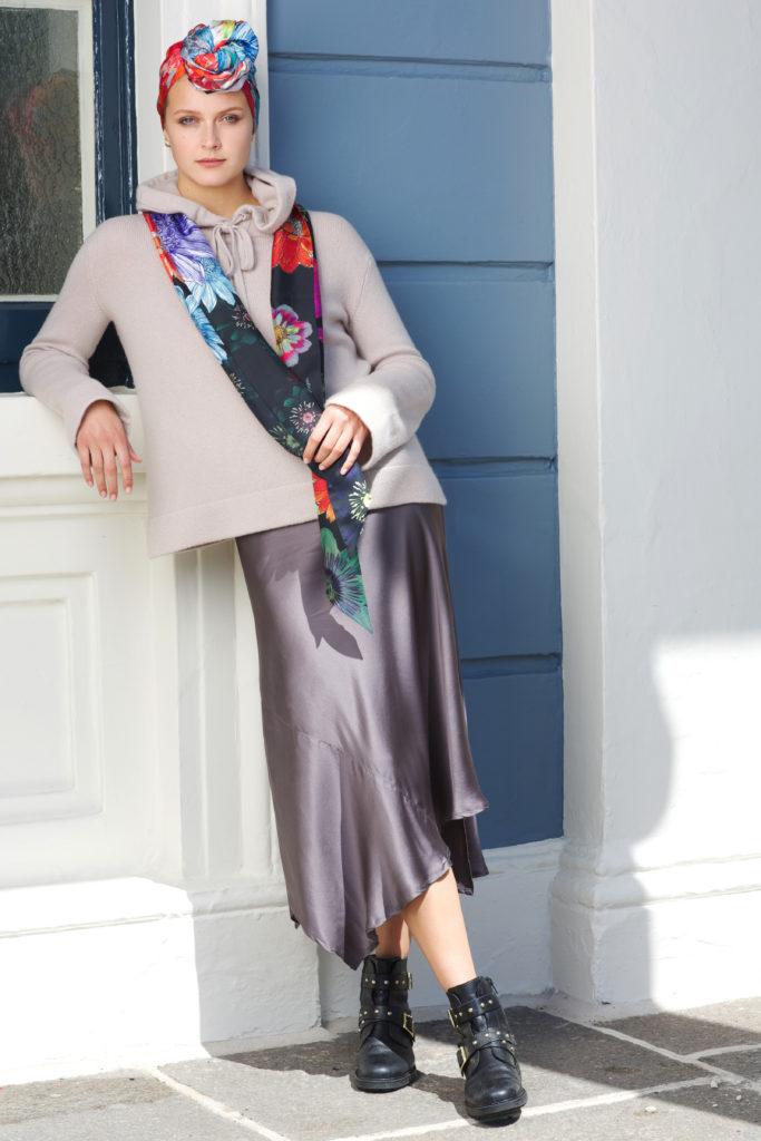 Printed Black Floral Long Silk Scarf by Irish Fashion Designer Susannagh Grogan