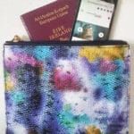 clutch leather print passport