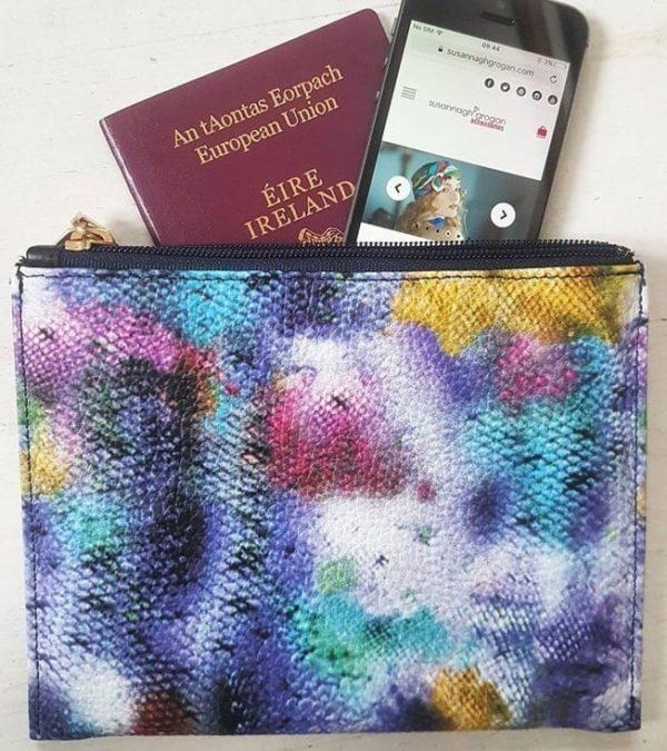 clutch leather print passport