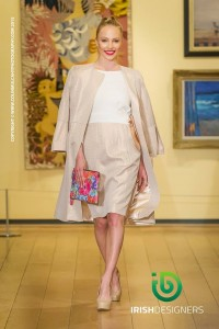 Susannagh Grogan leather Clutch at Arthur Cox Fashion Show. Dress Niamh O'Neill.