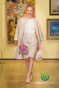 Susannagh Grogan leather Clutch at Arthur Cox Fashion Show. Dress Niamh O'Neill.
