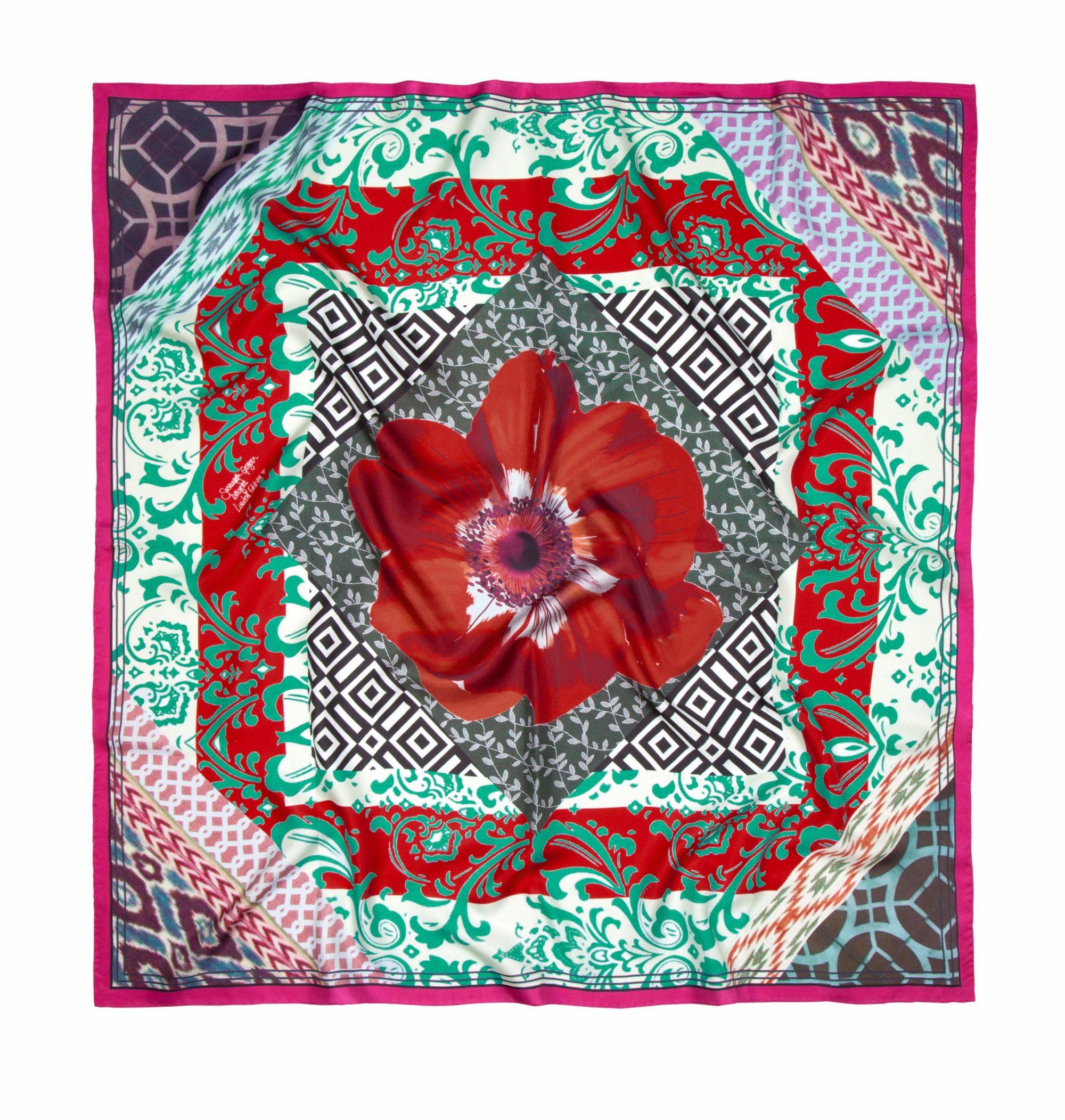 'Bazaar Red' Classic Silk Scarf