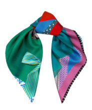 SS16s4 Susannagh Grogan - Teal Ribbons Silk S Scarf €80