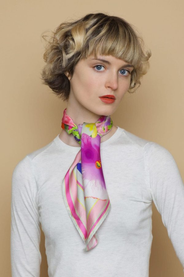 Susannagh Grogan Floral Pastel small square silk scarf