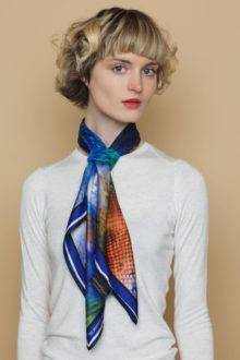 'Quotes Sea Blue' Classic Silk Scarf