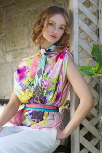 Susannagh Grogan Pastel Floral Scarf Tie from Bazaar Collection