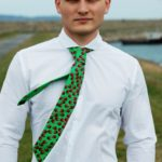 Susannagh Grogan Mens Silk Tie Green ladybird