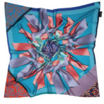 Blue Silk Scarf with ribbon print