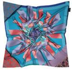 Blue Silk Scarf with ribbon print