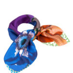 Tan, Navy and Purple Small Neck Square Scarf