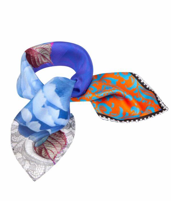 Blue Orange Small print Silk Scarf