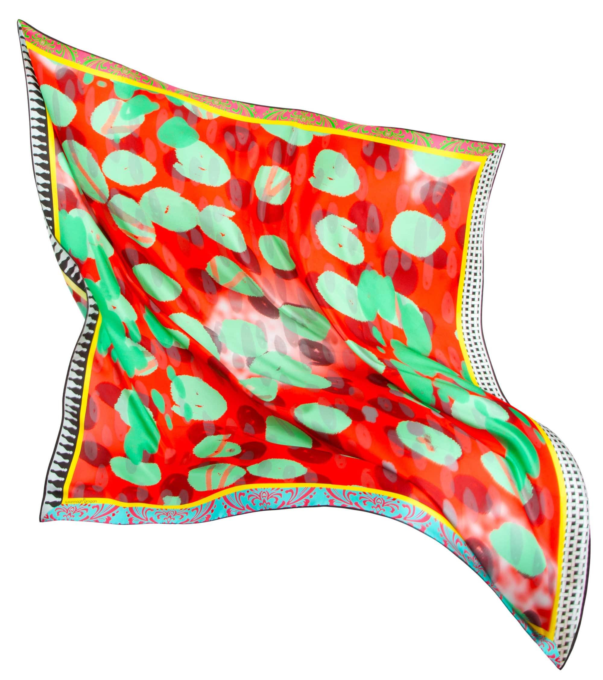 Susannagh Grogan Silk Scarf Orange, Coral Watermelon Scarf