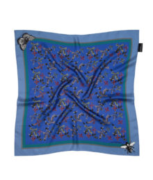 Blue Bugs and Bows Small Silk Square Susannagh Grogan