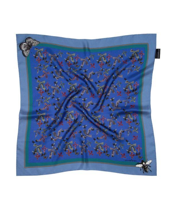Blue Bugs and Bows Small Silk Square Susannagh Grogan