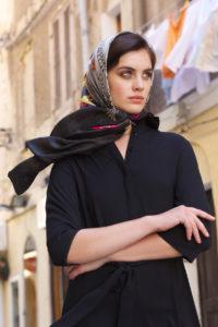 Irish designer Susannagh Grogan Large Printed Silk Scarf LOVE headscarf