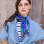 Susannagh Grogan Silk Blue Bugs Scarf