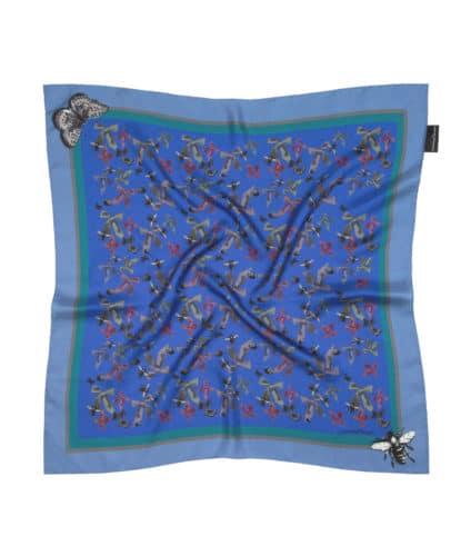 Blue Bugs Small Silk Square ~ Susannagh Grogan