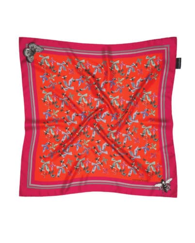 Susannagh Grogan Pink Bugs Small Silk Square