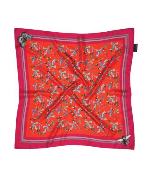 Susannagh Grogan Pink Bugs Small Silk Square