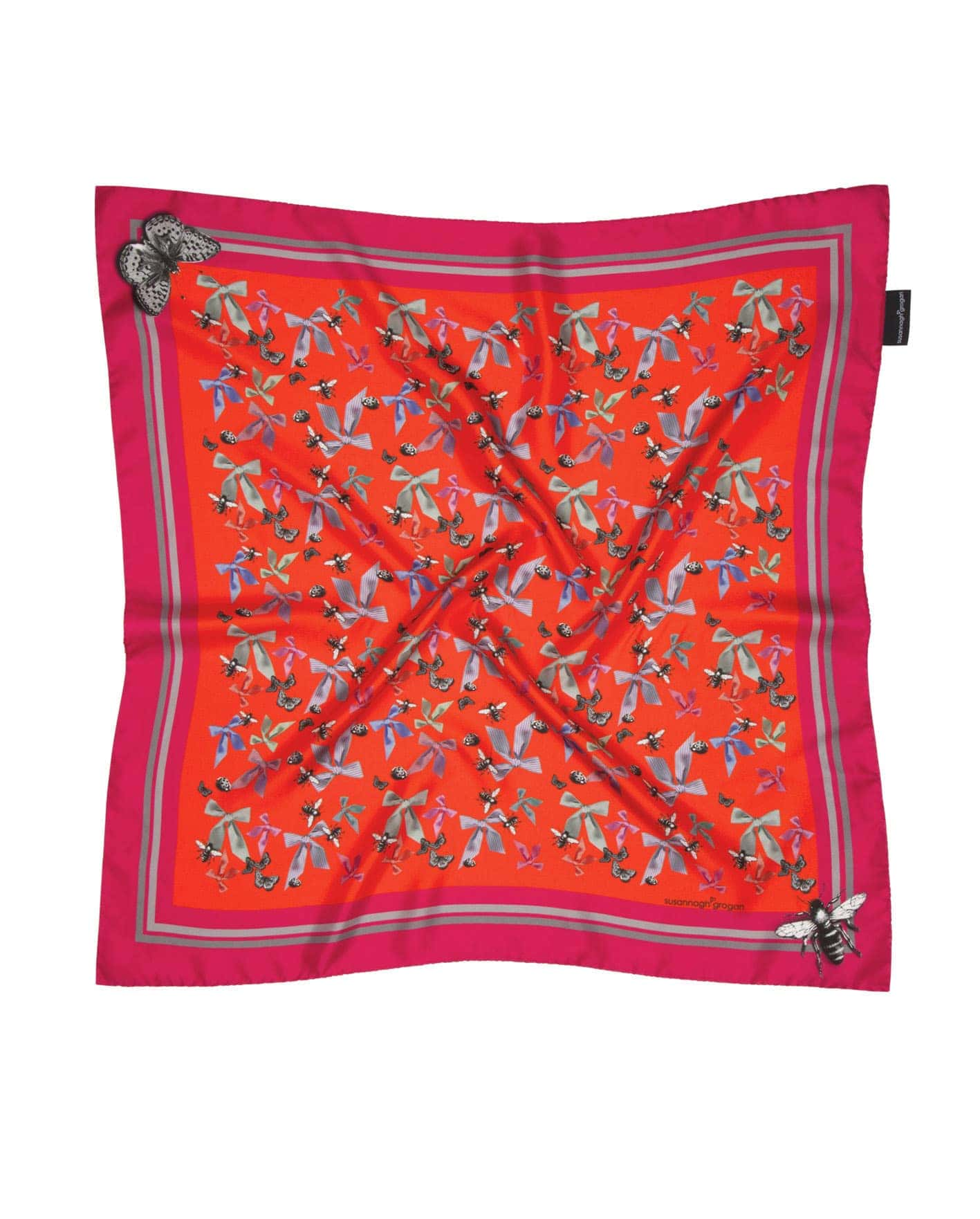 'Bugs n Bows' Pink Small Square | As Seen: Irish Times Mag