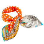 Susannagh Grogan Scarf - 'Orange Spot Polka' Small Silk Square