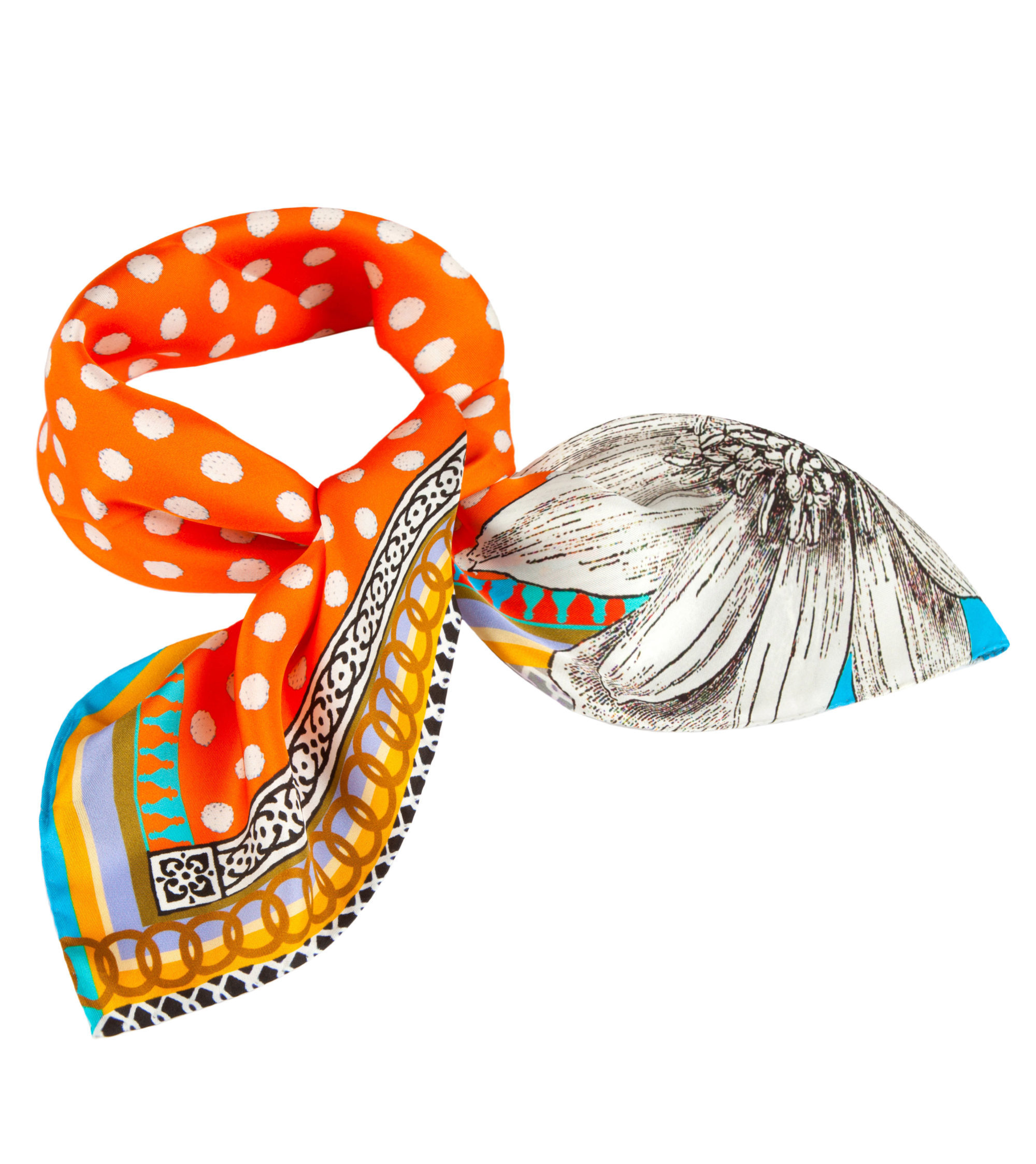 'Orange Spot' Small Silk Scarf