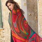 Susannagh Grogan 'RED SWIRL Printed Silk Scarf 'Pandora's Box' Collection