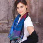 Susannagh Grogan SAPPHIRE FREEDOM BIRD Printed Silk Scarf 'Pandora's Box'
