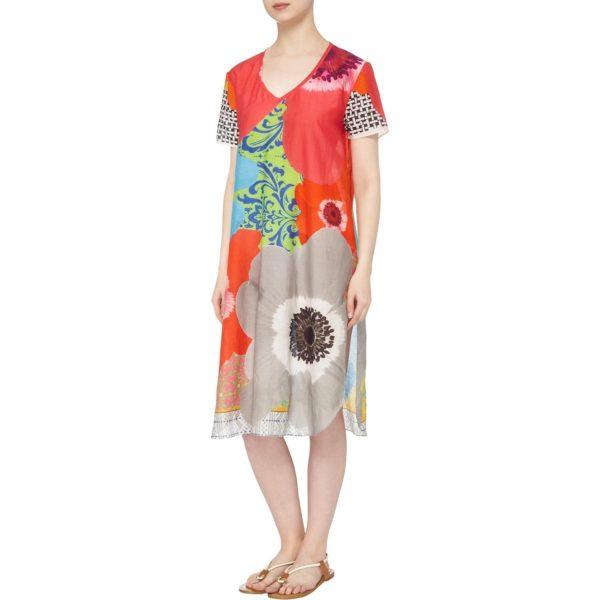 Susannagh Grogan Floral Burst Silk Cotton Tunic Dress