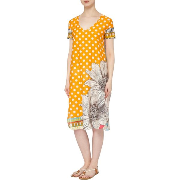 Susannagh Grogan Daisy Chain Orange Spot Silk Cotton Tunic Dress