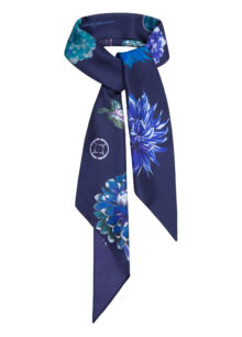 Navy 'Flower Flash' Rectangle Silk Scarf
