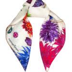 Susannagh Grogan Irish Designer Cream Floral Flash Small Silk Square