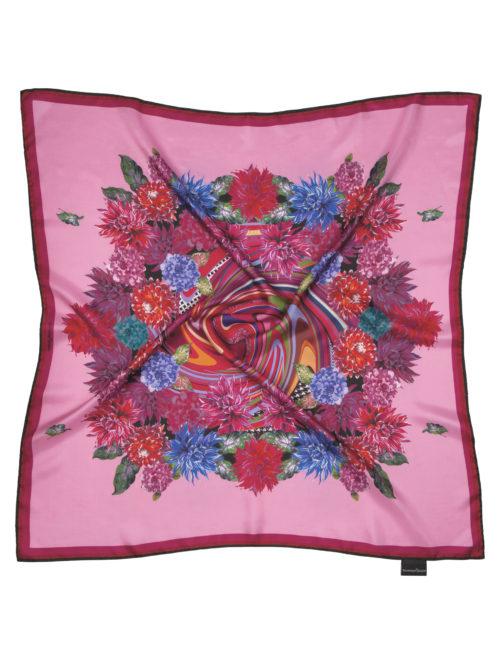 Susannagh Grogan Pink Whirlpool FLOWER FLASH Medium Silk Square