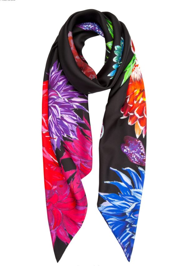 Susannagh Grogan Flower Flash Floral on Black XL Printed Silk Square Scarf