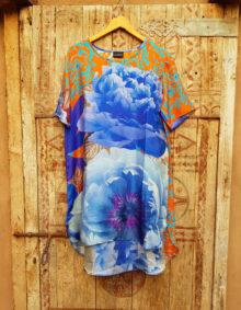 100% Silk Tunic Blue & Orange