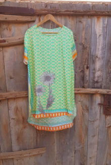 100% Silk Tunic Aqua Daisy Chain