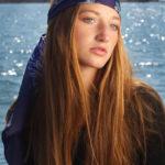 Irish print designer, Susannagh Grogan Navy 'Flower Flash' Rectangle Silk Scarf.