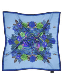 Blue 'Whirlpool' Flower Flash | Classic Silk Square