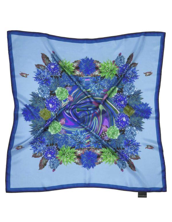 Susannagh Grogan BLUE Whirlpool FLOWER FLASH Medium Silk Square