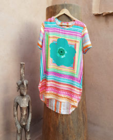 100% Silk Tunic Melon Candy Stripe