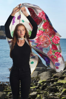 Flower Flash 'Cream Zig-Zag' XL Silk Scarf |  AS SEEN: Indo W/E Mag