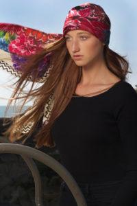Susannagh Grogan Cream Flower Flash XL printed silk scarf