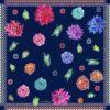 Susannagh Grogan Navy Zig Zag Flower Flash Collection printed silk scarf