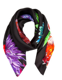 Flower Flash 'Black Floral' | Small Silk Scarf