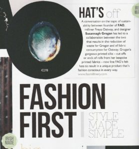 Susannagh Grogan and FAO Millinery Collaboration in Irish Country Magazine