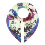 Cream Floral Scroll Medium Silk Scarf Susannagh Grogan