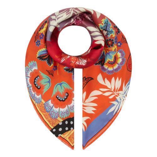 Orange Floral Scroll Medium Silk Square Susannagh Grogan